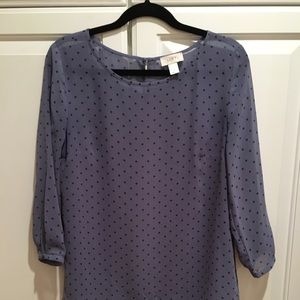 Loft Sheer Periwinkle Polka Dot Blouse